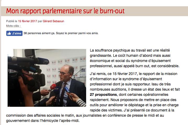 Rapport parlementaire sur le burn-out