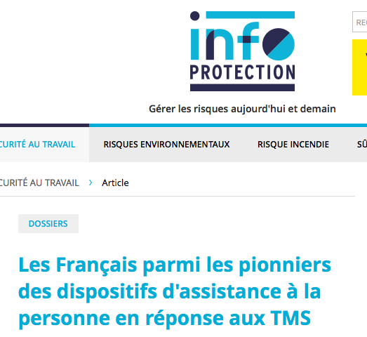 Les Français parmi les pionniers des dispositifs d'assistance à la personne en réponse aux TMS